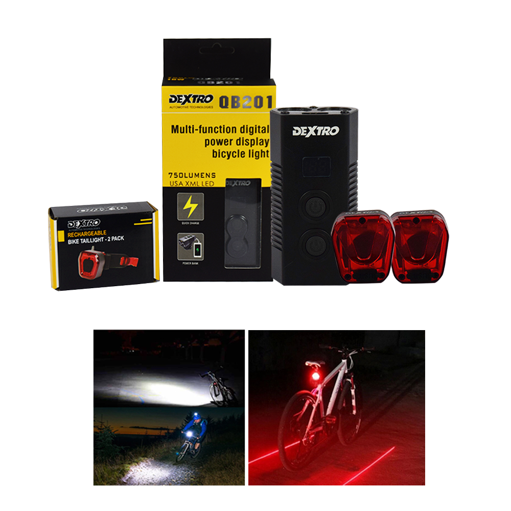 Dextro LED Light Bicycle Rechargeable Headlight 750 Lumens With Tail light