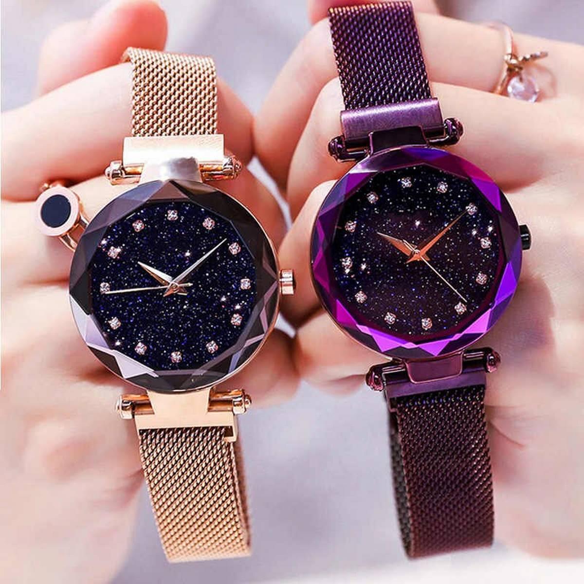 Women Mesh Starry Sky watch Magnetic Chain Luxury Fashion Watch