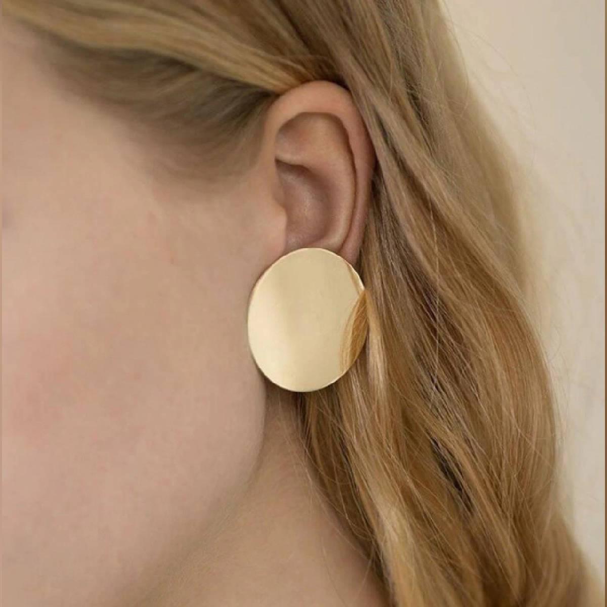Round Shape Plain Gold Earrings For Women - TM-E-10