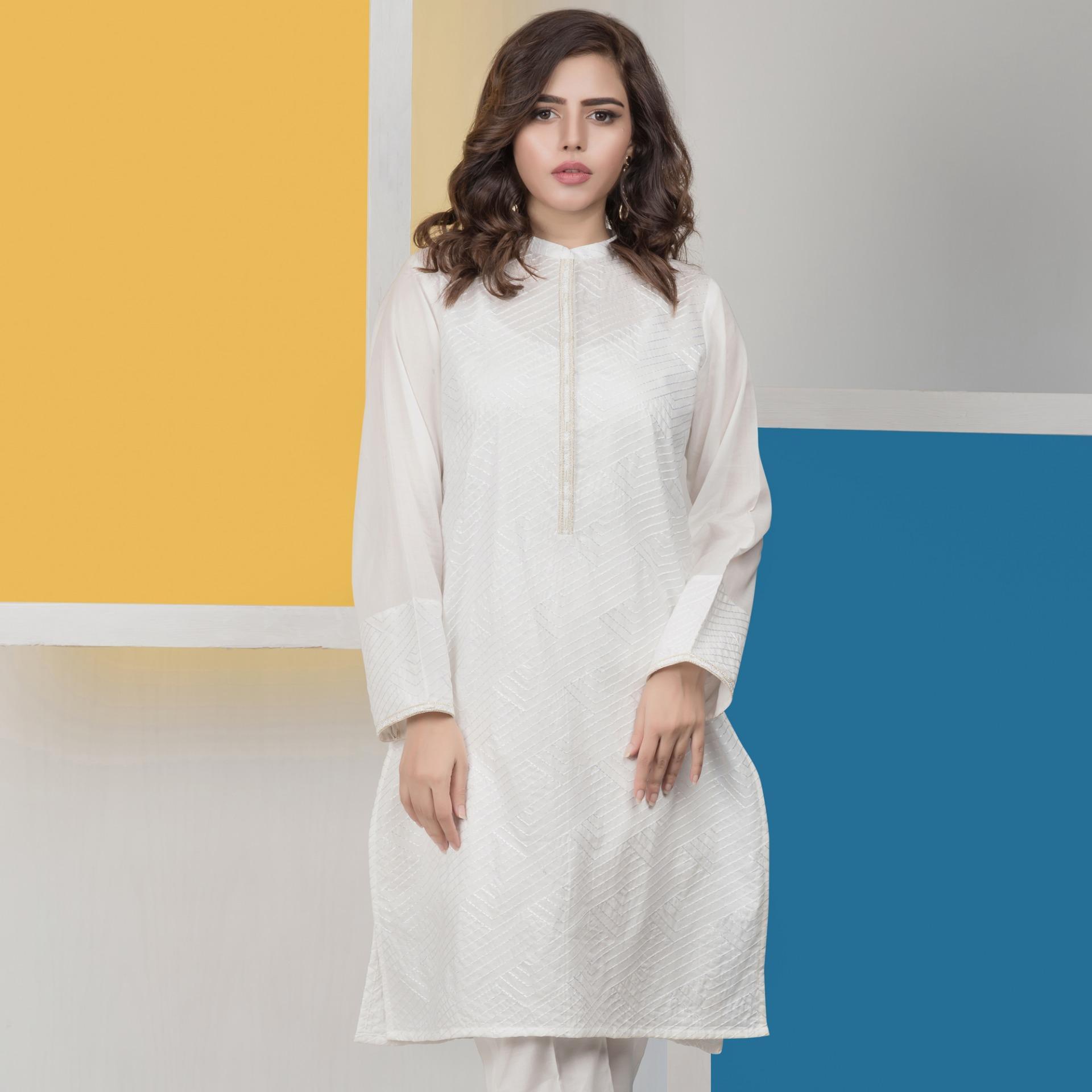"""Lsm Fabrics Gulkari Collection Rtw White Cambric Kurti For Women"""