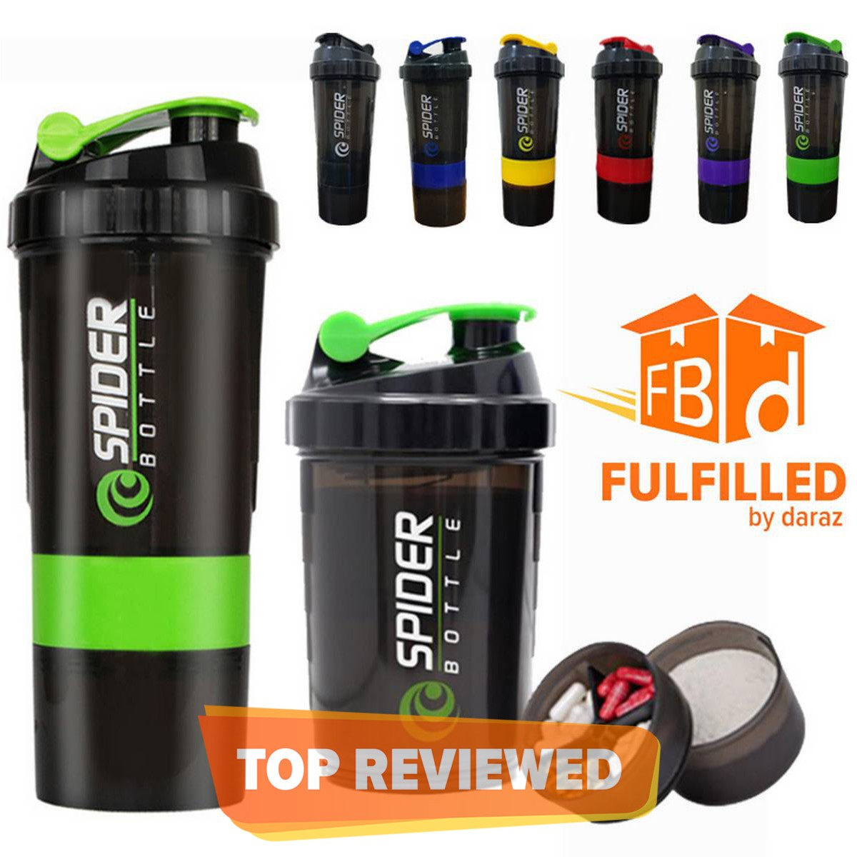 3-in-1 Spider  Protein Shaker Bottle Sports Gym Water Bottle Multi-Purpose Shaker with Extra Supplement and Pill Capsule Storage BPA Free Plastic Easy Grip Leak Proof-500ml