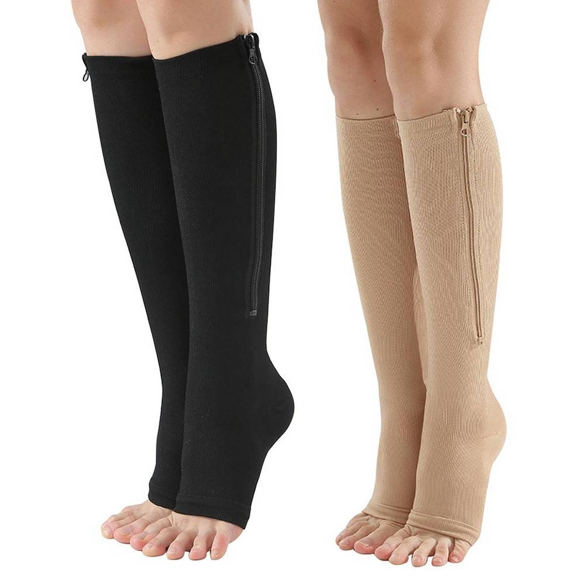 New winter socks  1 Pairs Compression Zip Socks Stretchy Leg Support Unisex Open Toe Knee Stockings