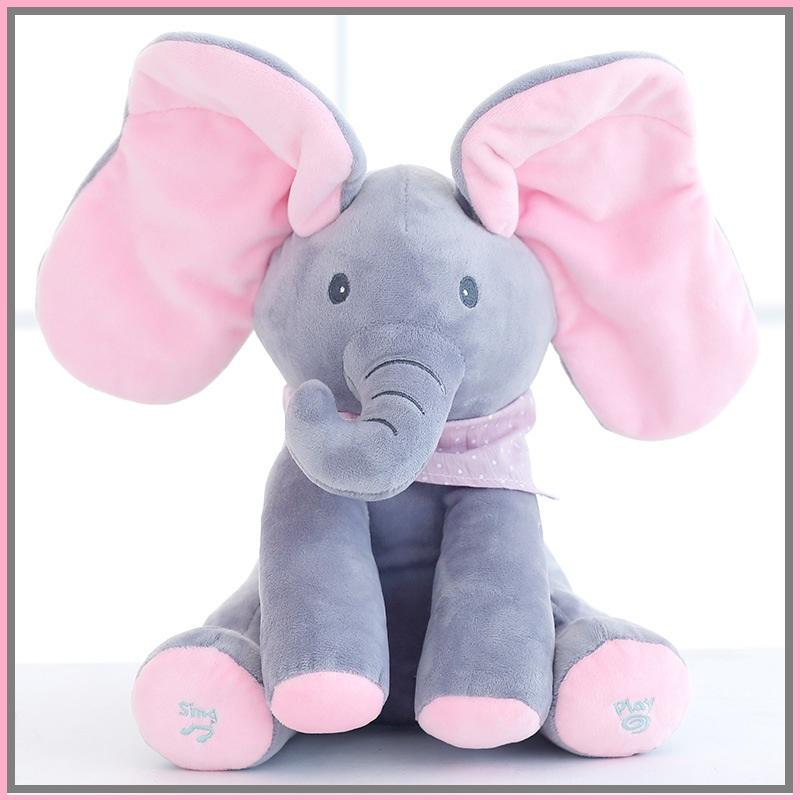 High Quality Children's Musical Flappy Ear Plush Elephant Interactive Sing and Play Hide Stuffed Animal Toy for Baby Kids Girls