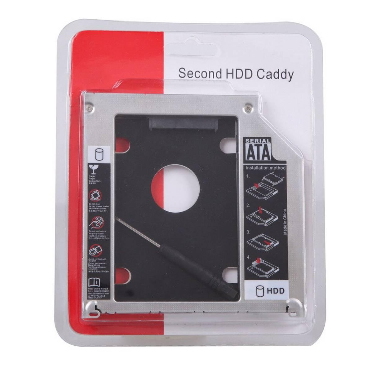 2nd HDD Caddy 9.5mmSATA 3.0 2.5 SSD Case Hard Disk Drive