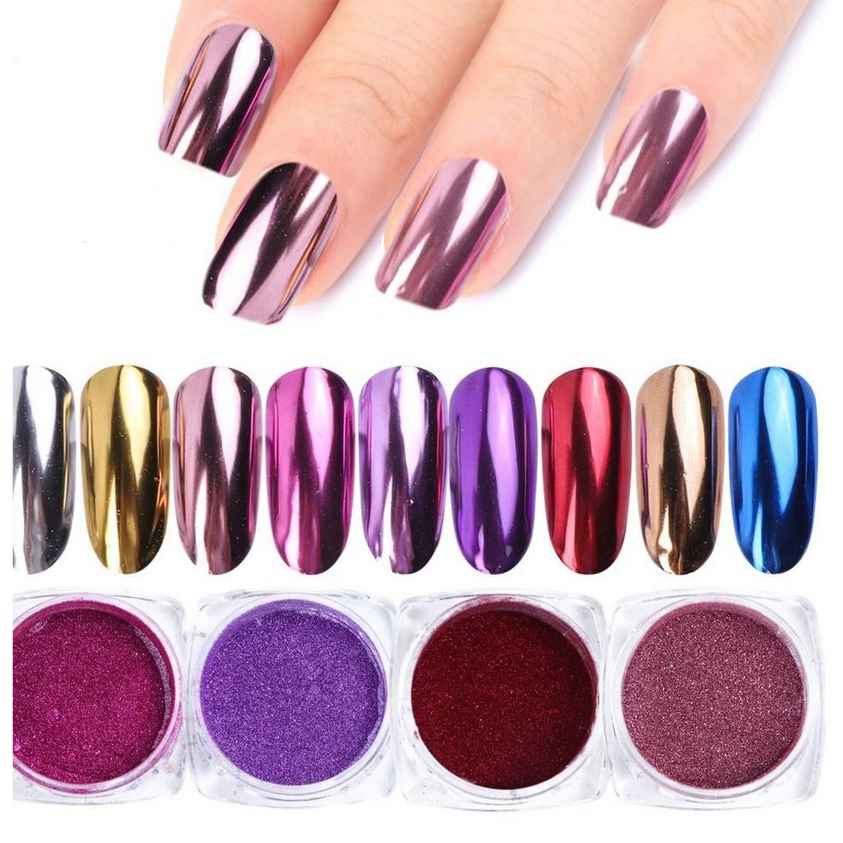 pack of 6  Mirror Glitter Nail Chrome Pigment Shell Dazzling DIY Salon Micro Holographic Powder Laser Nail Art Decorations Manicure