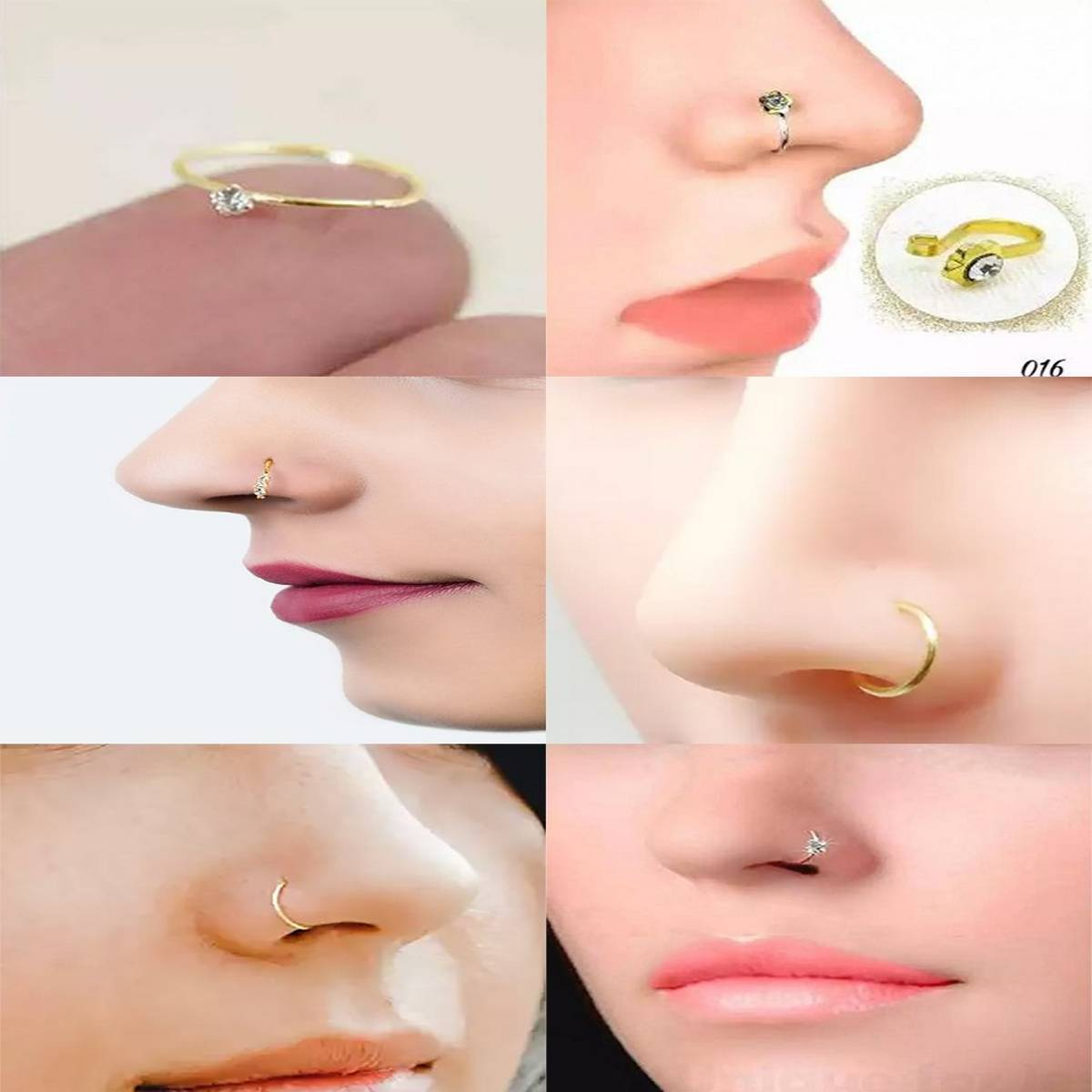 6Pcs nose ring Stainless Steel golden Nose Piercing Ring with shinning silver stones Hoop Nose latest designed Women/girls Jewellery 2020