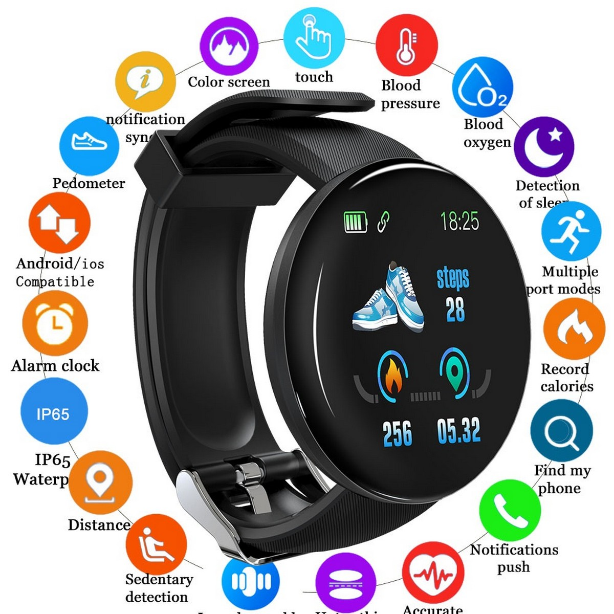 D18 Smart Watch Smart Band Watch Android LED Smart Watches For Boys & Girls Strap watch Bluetooth Compatible Heart Rate Monitored Blood Pressure Fitness Tracker Smart watch Water Proof