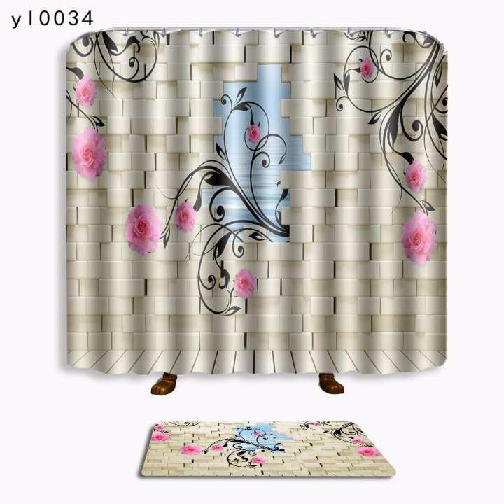 Poplikdfr 3D Printing Bath Mat Shower Curtain for Bathroom Art Decor