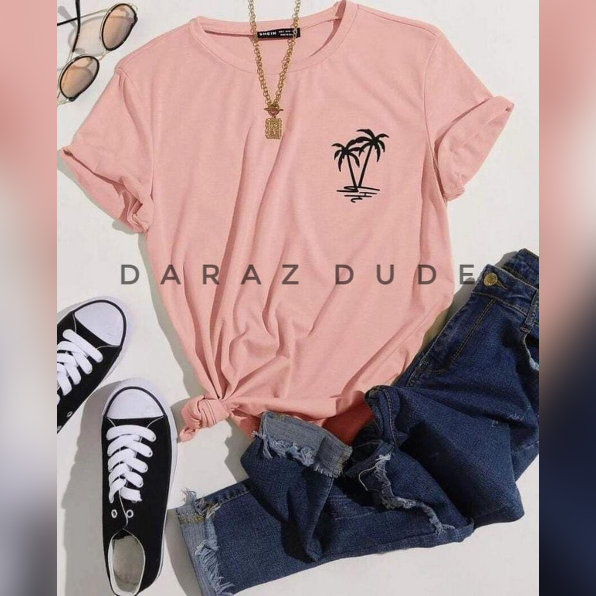 New Logo Coconut Tree Print Round Neck Half Sleeves Casual Printed T Shirt For Girls Women And Ladies