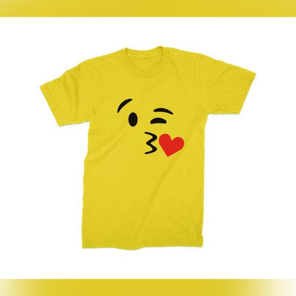 Kiss Emoji T-shirt Smiley Faces heart emojis Halloween costume cosplay Women Kids size Shirts