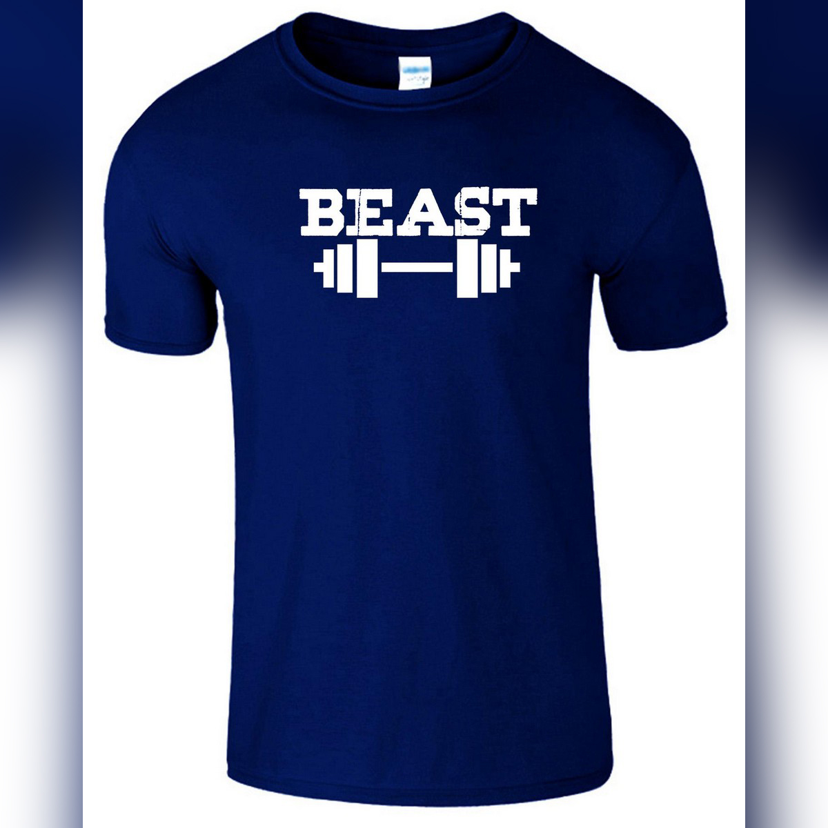 Navy Blue Cotton Tshirt Printed Beast Fitness Dumbbell Gym Workout T shirt