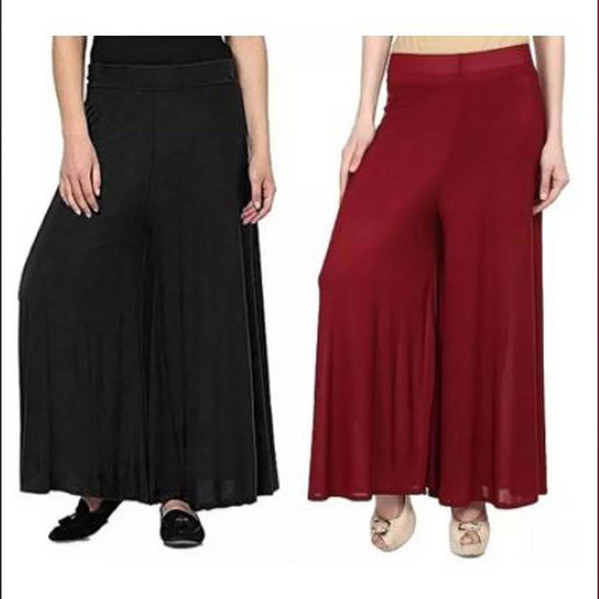 Queen Pack Of 2 Viscose Long Palazzo Pants for Women (Black-Maroon)