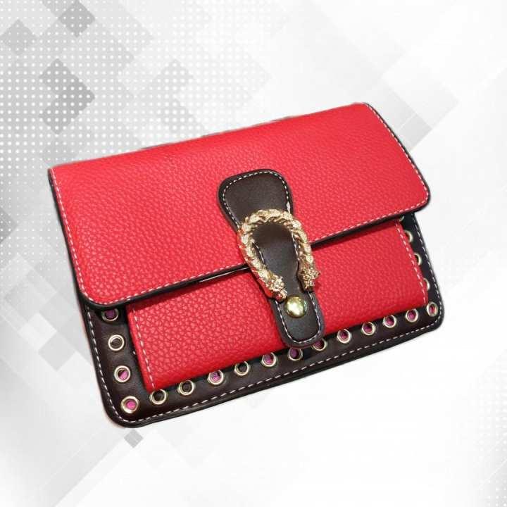Red Ladies Wallet Style Handbag