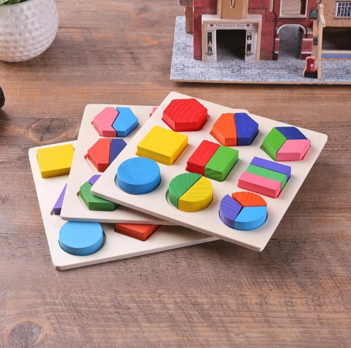 Wooden Geometric Shapes Puzzle - Multicolor Kids Early Educational Toys