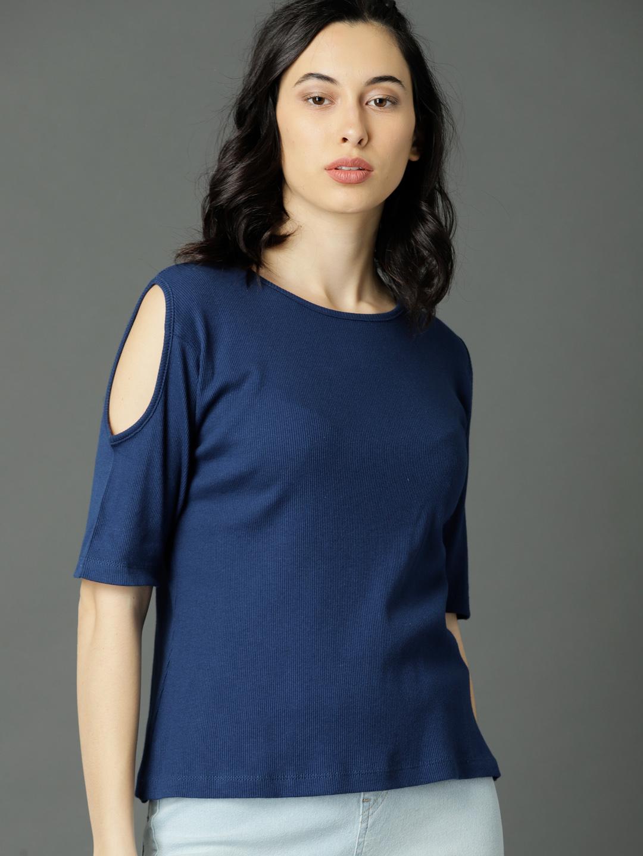 DESIGNER Navy Blue Cold Shoulder Off Shoulder T-Shirt T Shirt Shirt Top Blouse Tunic For Women For Girls