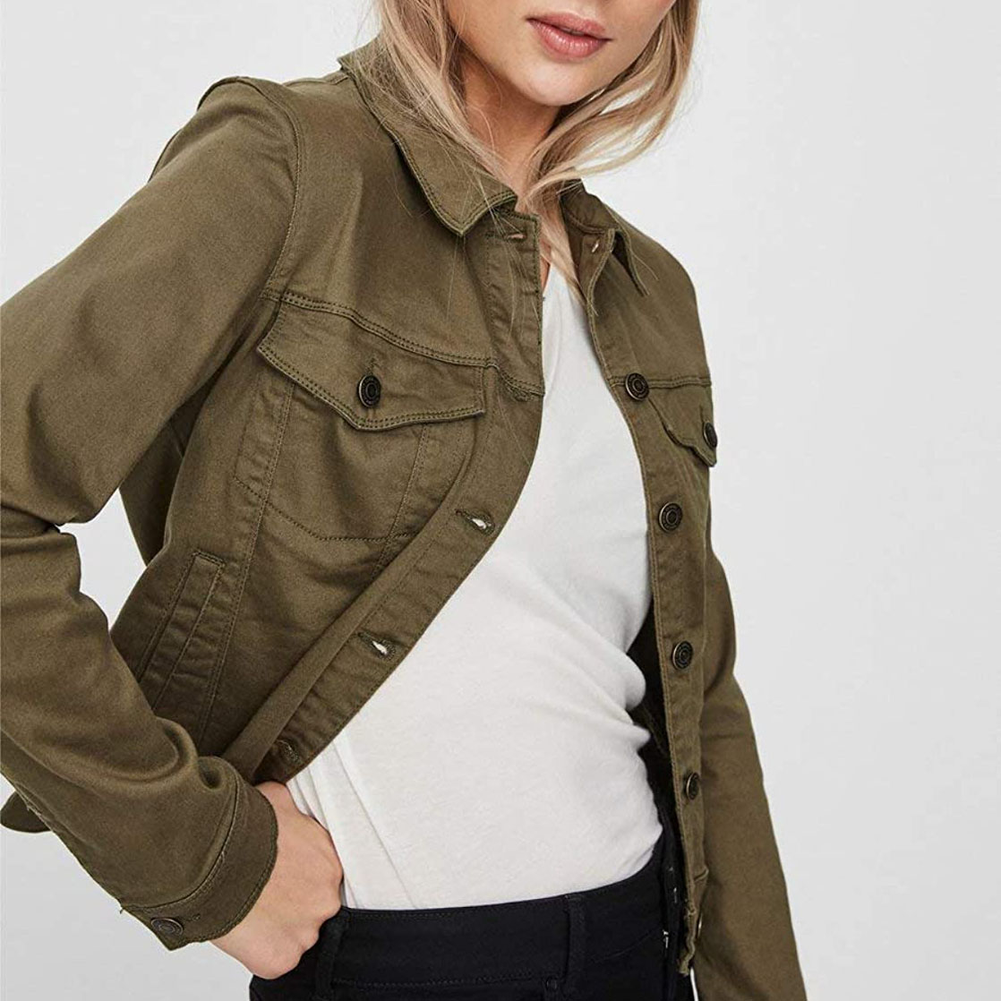 Olive Green Most Trendy Denim Jacket for women WJJ-16