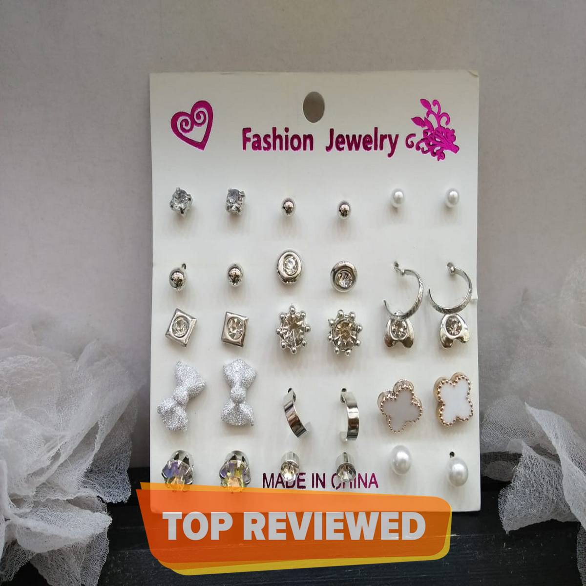 Earrings set of 15 pairs for girls fashion funky tops studs