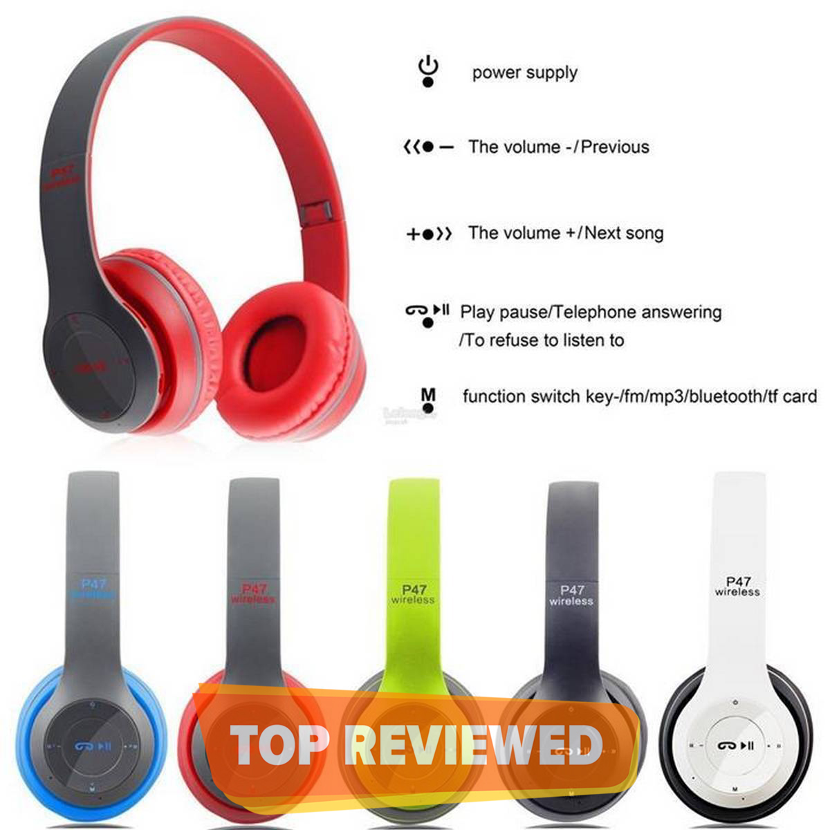 Wireless Headphones, P47 Bluetooth Foldable Headset with Microphone Support FM Radio TF for PC TV Smart Phones & Tablets Etc