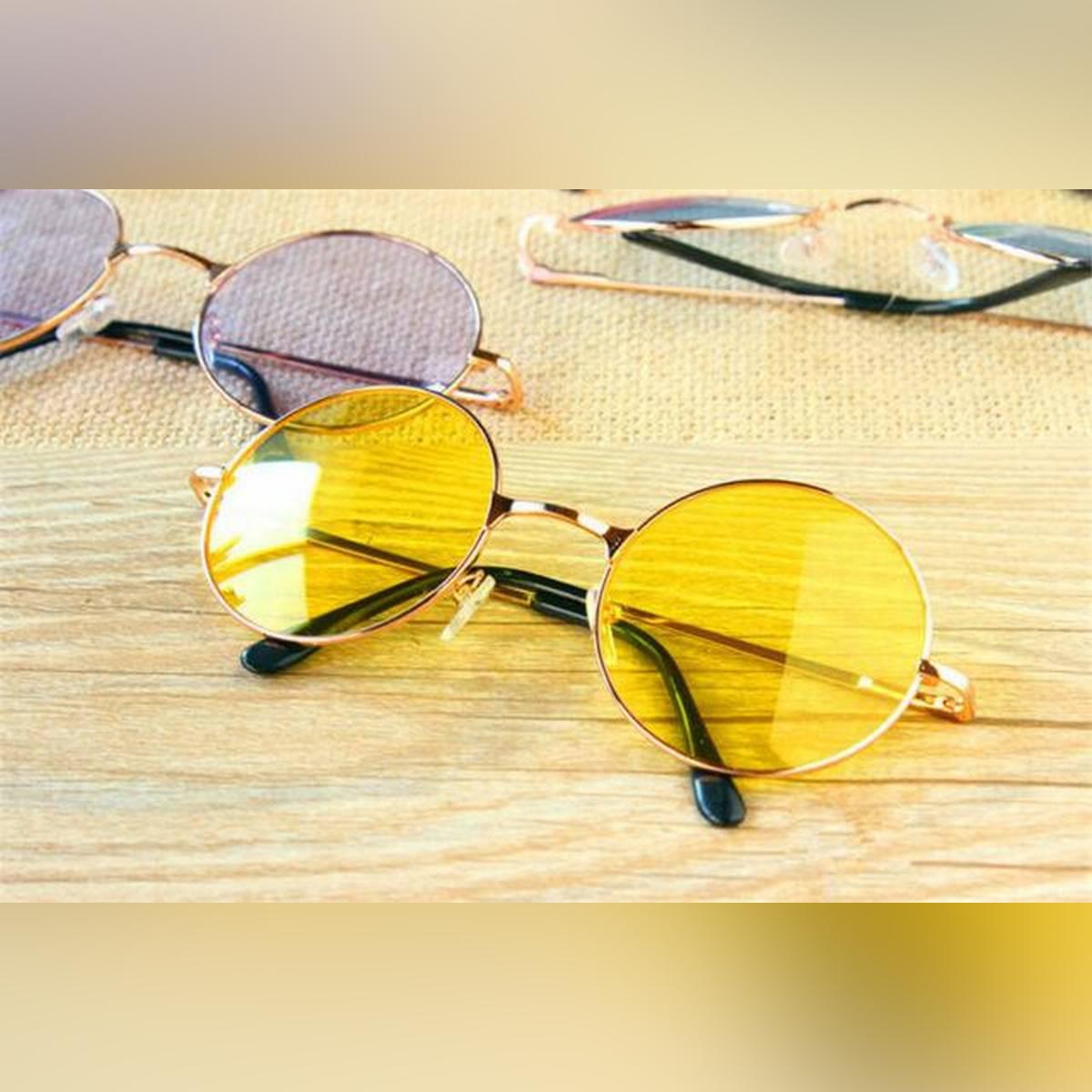 Orange/Yellow/Black Round Sunglasses for Women and Men - Retro Sunglasses