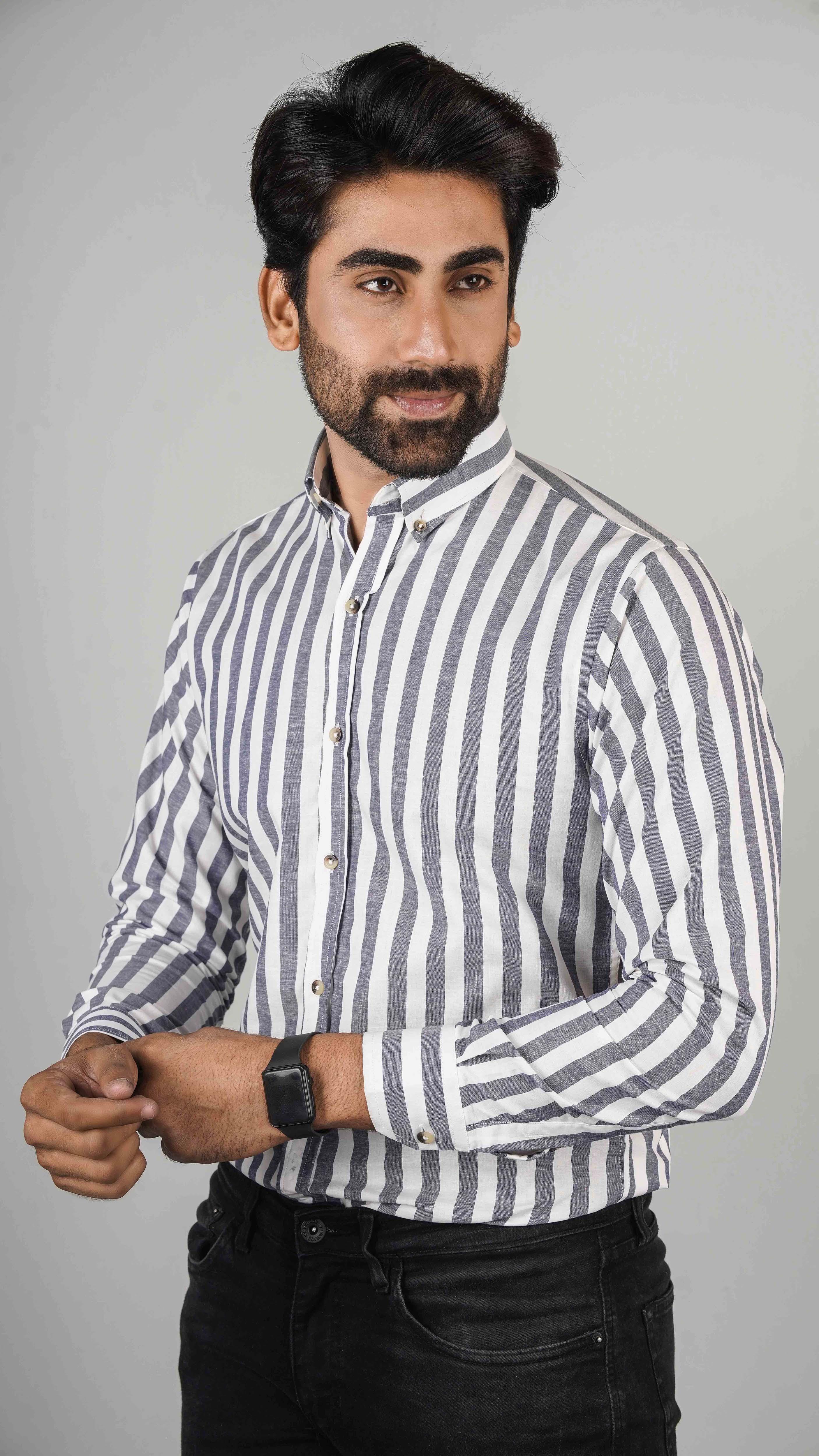 Code Casual Slim Fit Cotton Long Sleeve Black Printed Shirt For Men Fashion Sku: Cd-28