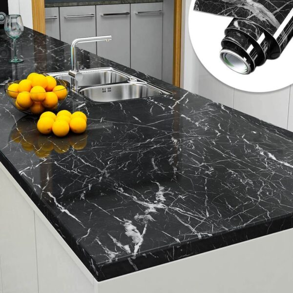 60x200cm Wall Paper Waterproof Heat Resistant Self Adhesive Anti Oil Kitchen Wallpaper Marble Sheet for Kitchen