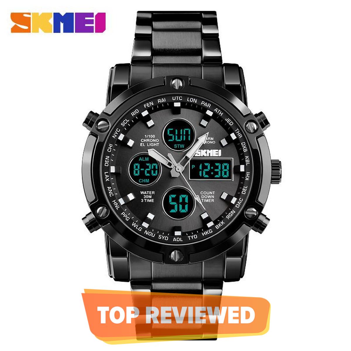 Skmei 1389 Multi-Function Dual Display Waterproof Steel Belt Quartz Watch For Men