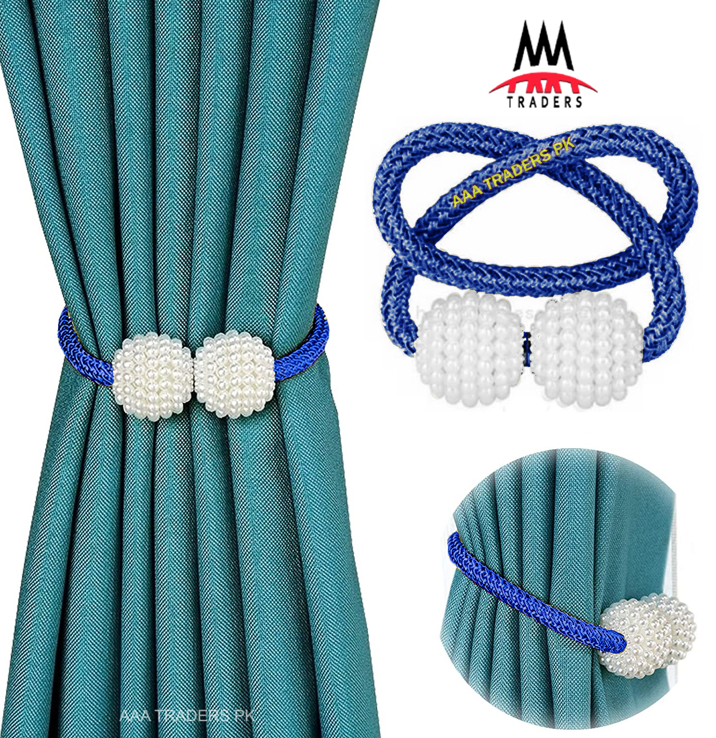 2 PCS Pearl Magnetic Curtain Buckle Magnetic Curtain Tiebacks Convenient Drape Tie European Style Decorative Weave Rope Curtain Rings & Buckles Holder for Window Sheer Blackout Draperies, Parday