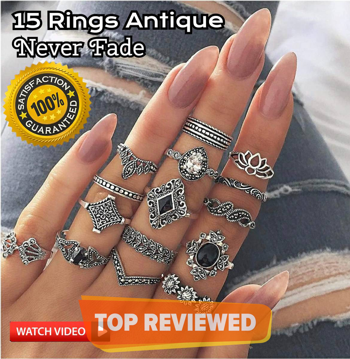 15 Pieces Ring Set For Girls Simple Never Fade Antique