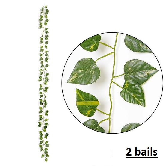 2 Artificial bail green leaves garland for decoration