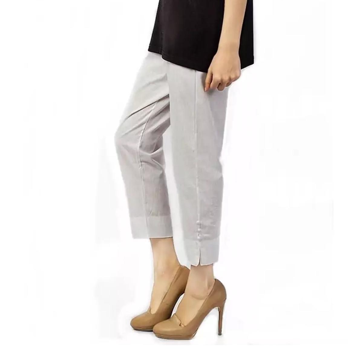 Plain Straight Pants For Women White