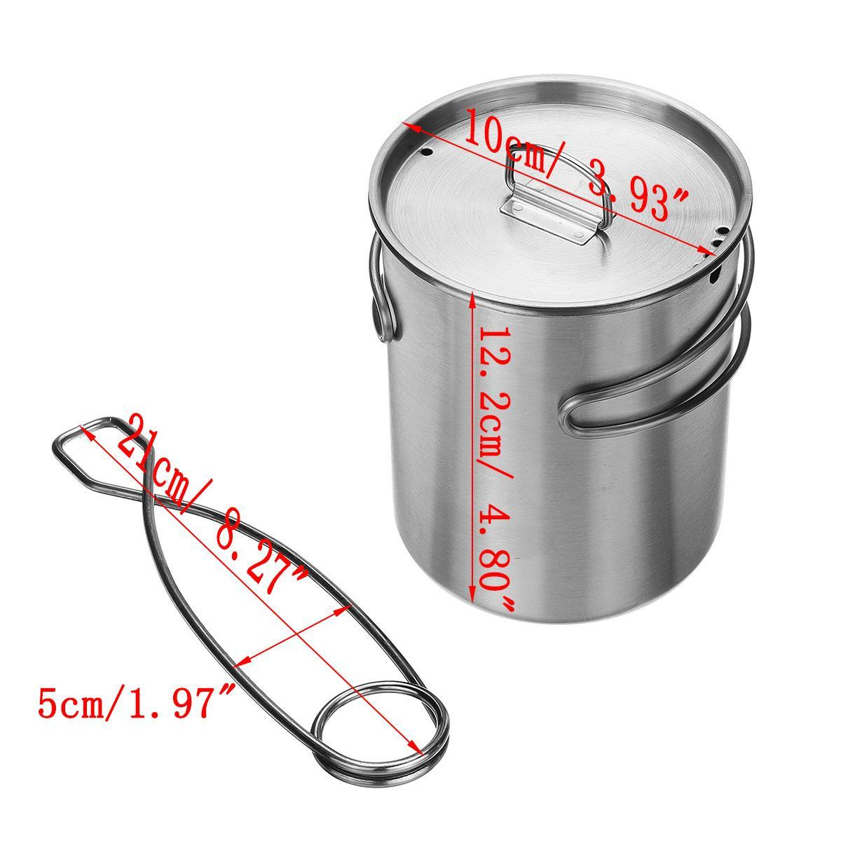 Hook Hanging +750ml 304 Stainless Steel Camping Outdoor Water Food Cup Pot Mug
