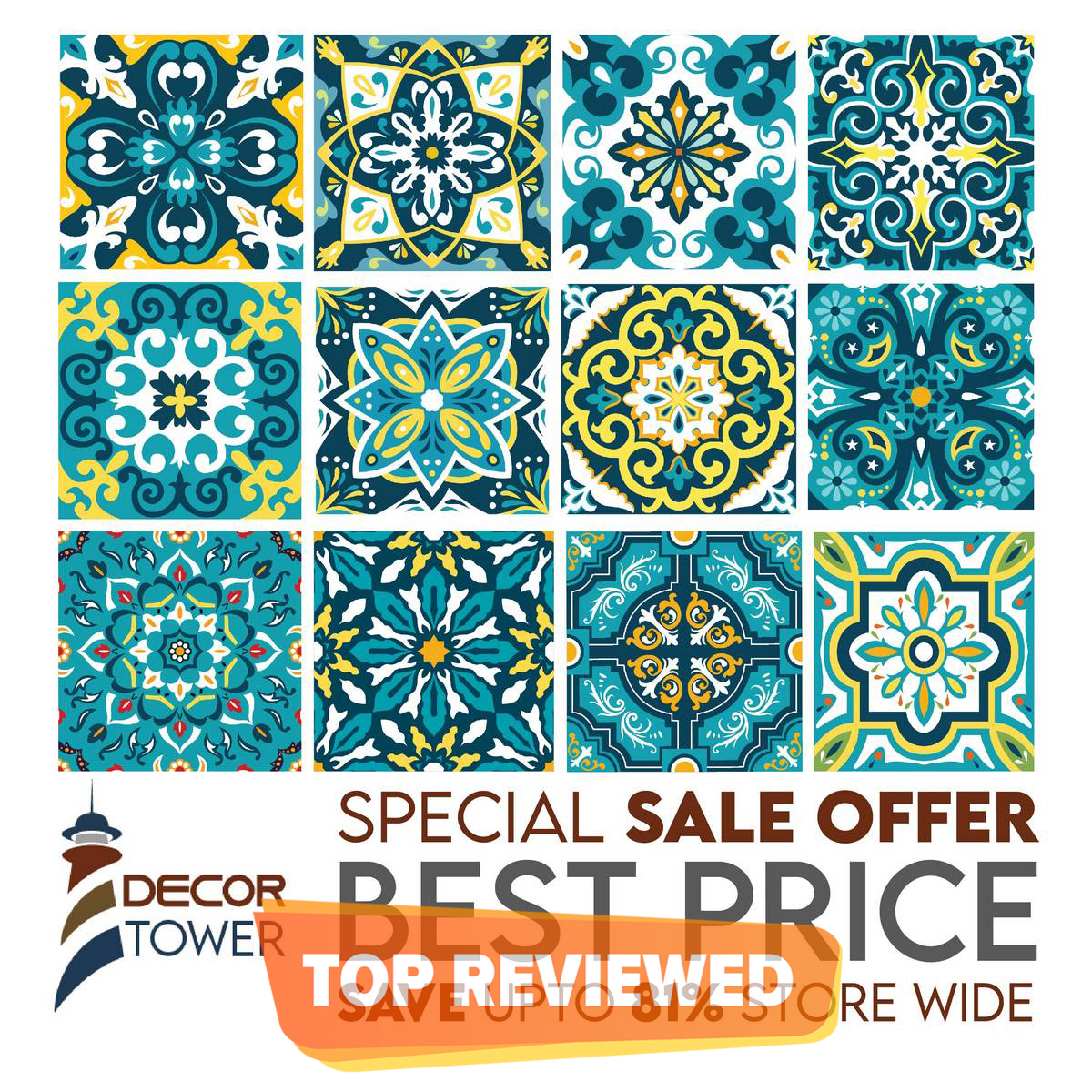 Dark Turquoise Self Adhesive Tile Stickers for walls Pack of 12 (5x5 inches) for Home Decor by Decor Tower
