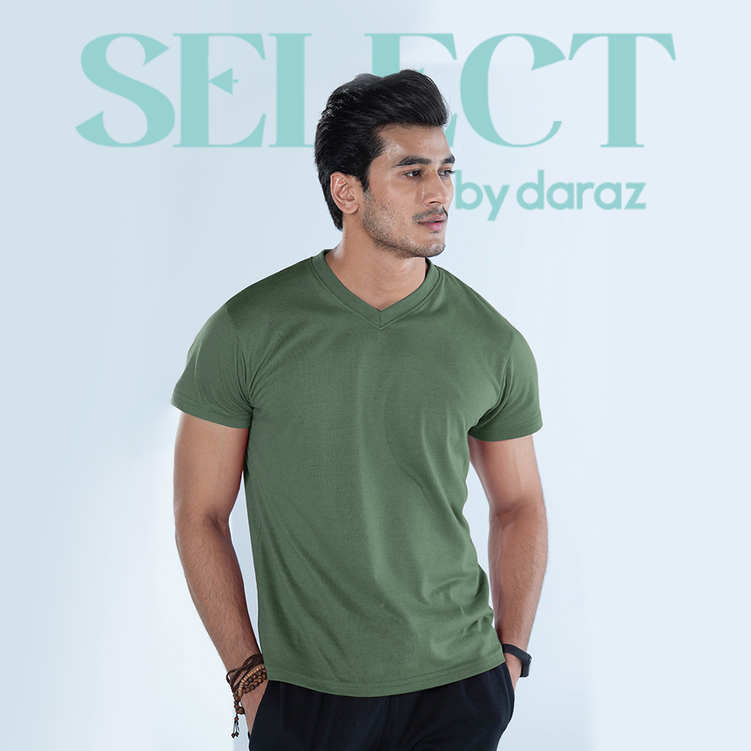 Select By  Basic V Neck T-Shirt For Men - Army Green