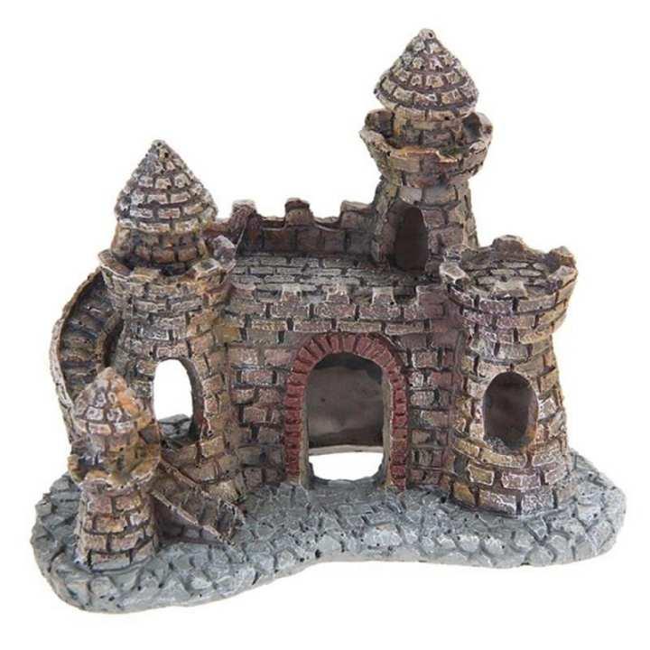 KiWarm Vintage Aquarium Decoration Wizard's Castle Fish Tank Landscape Shelter House Hand Painted Realistic Castle Ornament