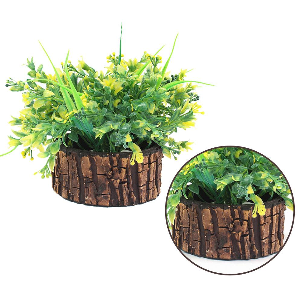 NS Collection-Artificial Plant Basket With wooden Pot Decoration Piece -Green Best for Home and Office Decoration