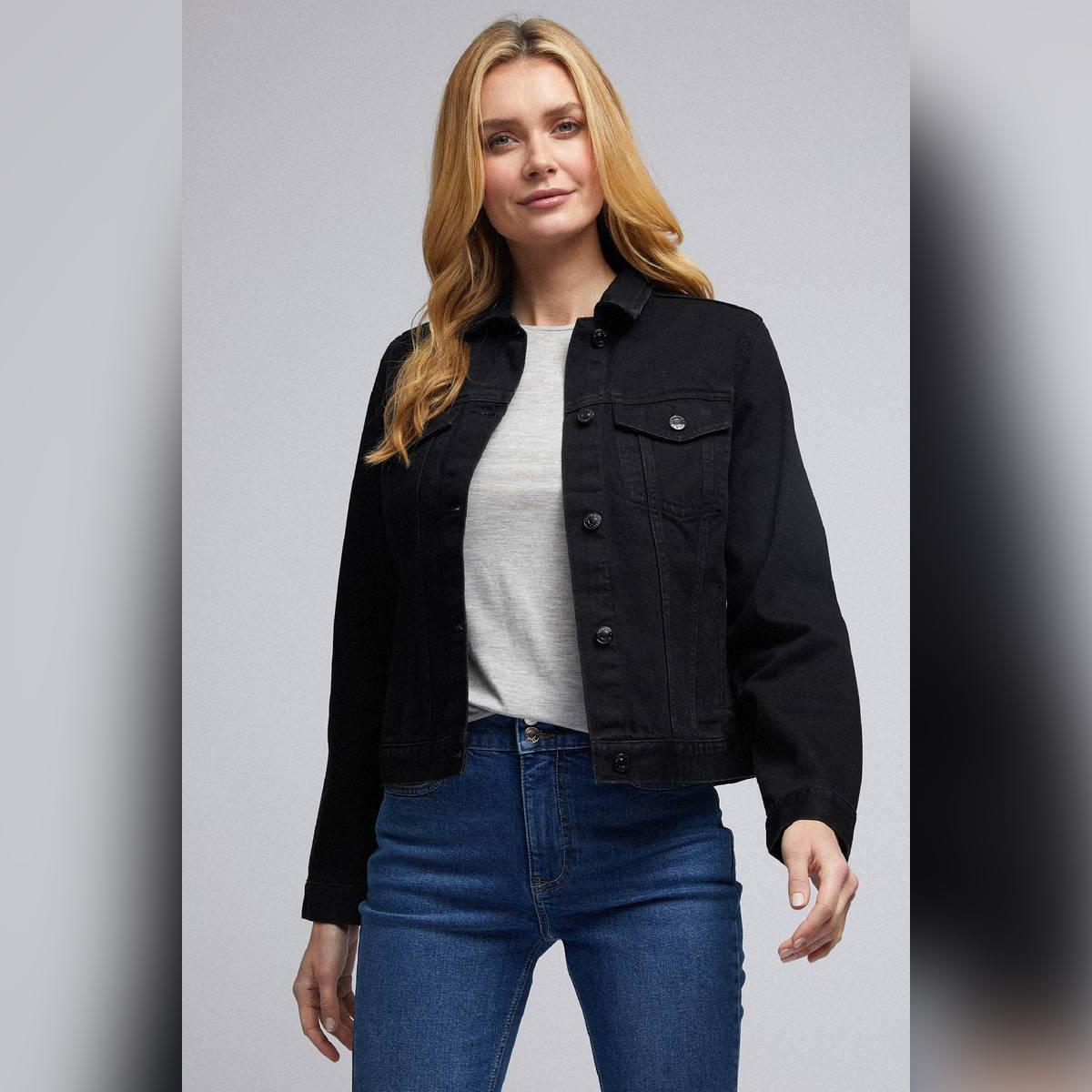 Classic Womens Solid Denim Jacket in Lycra Stretch