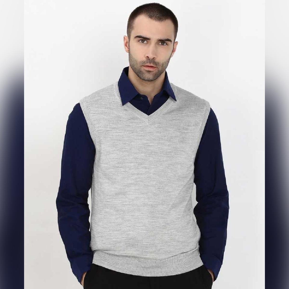 AL FAJAR Finest Wool Blend V-Neck Sleeveless Grey Casual Sweater For Men