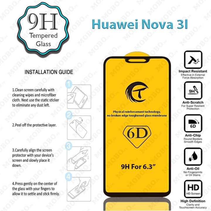 Huawei NOVA 3I - 6D & 5D Edge to Edge 9H Premium Tempered Full GLUE Glass Screen Protector