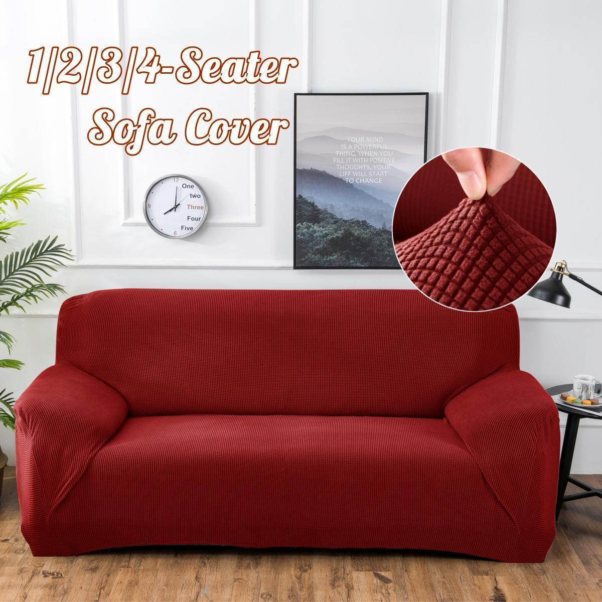 Polar Fleece Thickened Spandex Elastic Stretch Sofa Cover Slipcover Couch  Rose Red 4 Seat Pillow Case Chair Cover