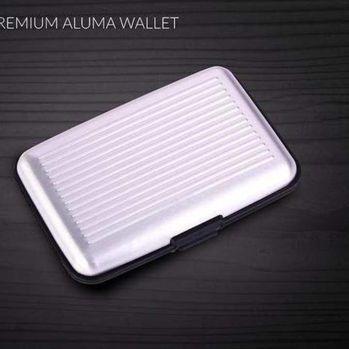 Silver Metal Aluma Wallet For Men