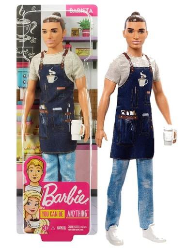 Barbiess Careers Ken Doll Baristaa Male Boy Coffee Seller by Mattell