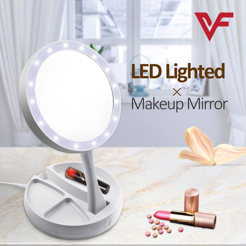 Foldable LED Makeup Mirror My Fold Away LED Mirror Care Professional Mirror with LED Lights Health  Beauty Adjustable Portable My Foldaway Led Makeup Mirror Travel Mirror 10X Zoom