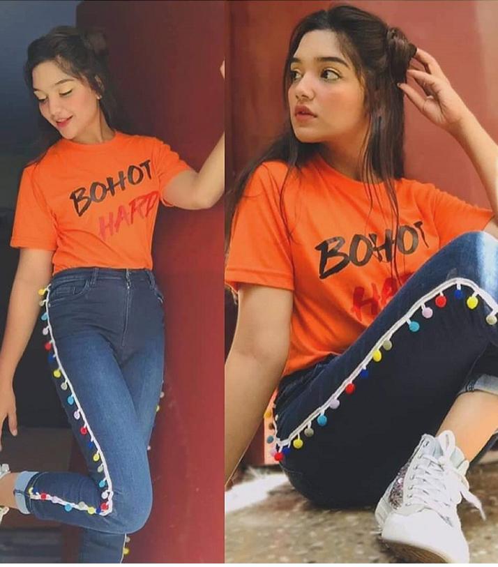 Orange Bohat Hard Printed T-shirt For Her