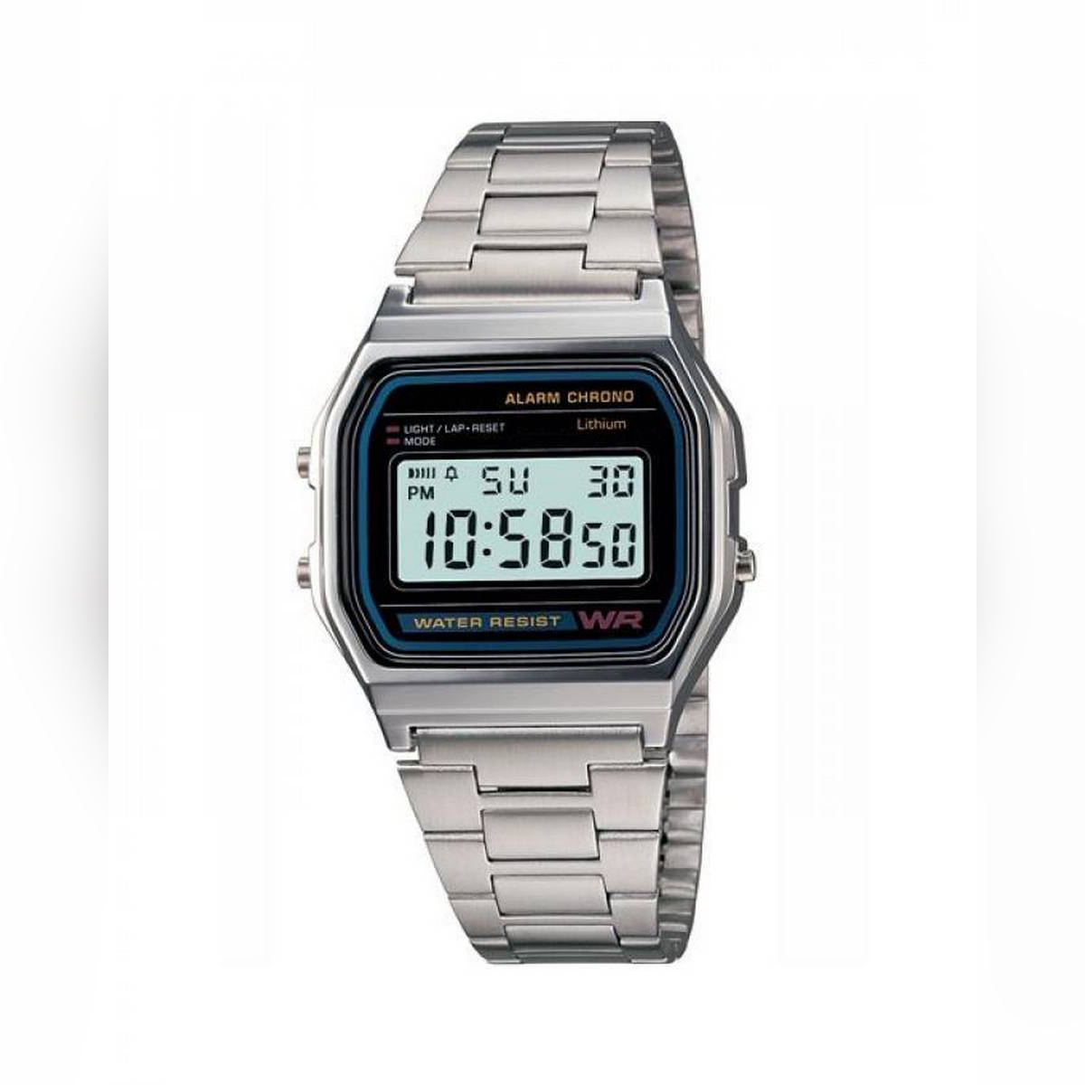 Unisex Digital Dial Stainless Steel Band Watch