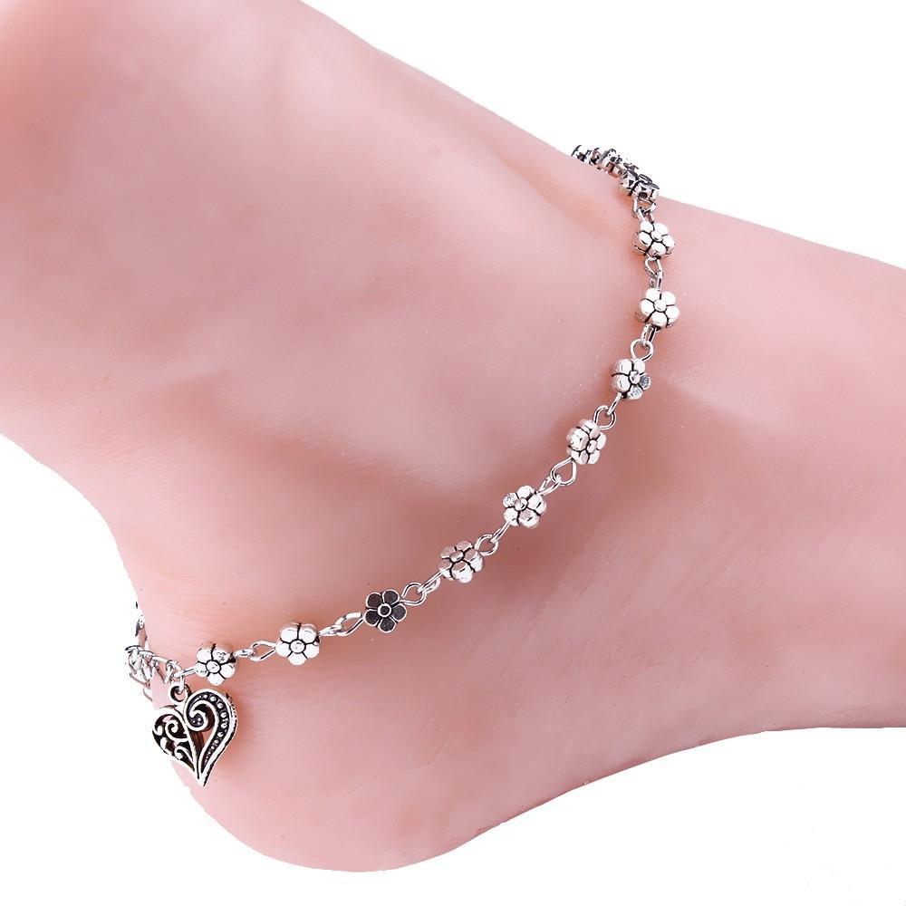 bd4325b1c6f European style Women Silver Bead Chain Anklet Ankle Bracelet Barefoot Sandal  Beach Foot
