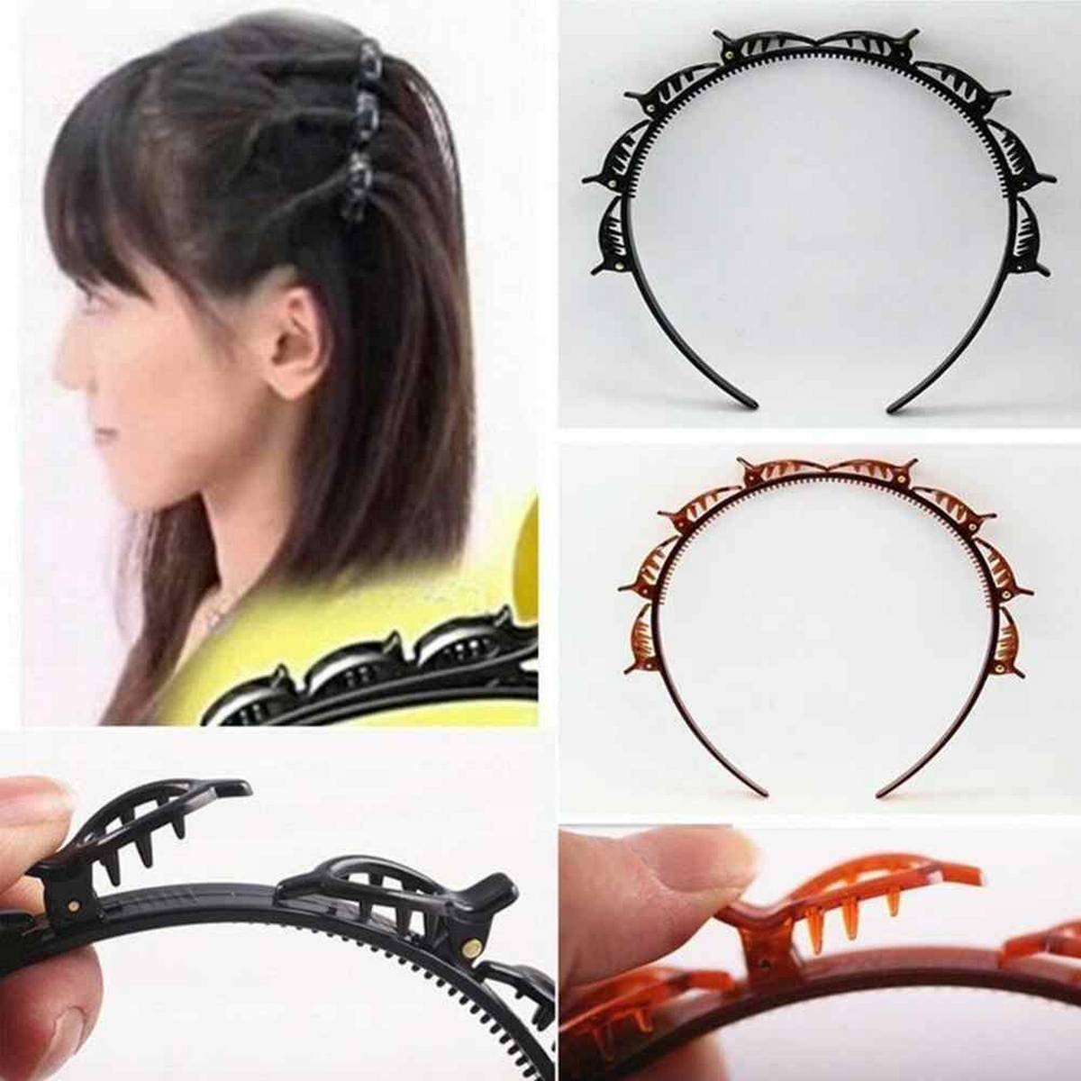 1pcs Fashion Double Layer Band Twist Plait Clip Front Hair Clips, Hairpin Headband Beauty Tool Hair Accessory