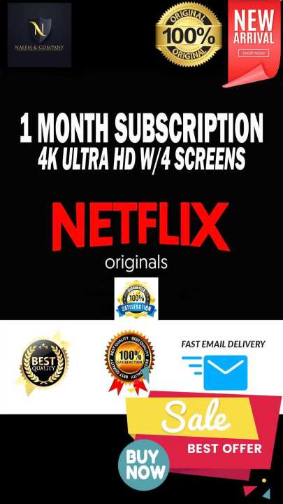 Netflix Monthly Premium Subscription 4K Ultra HD 4 SCREEN 100% Official Genuine Verified