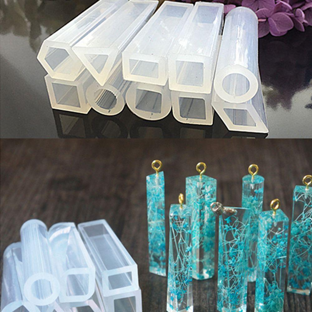 4pcs Assorted Gemstone Shape Pendant Molds Jewelry Resin Moulds with 10 PCS Screw Eye Pins for DIY Making Jewelry Necklace Pendant