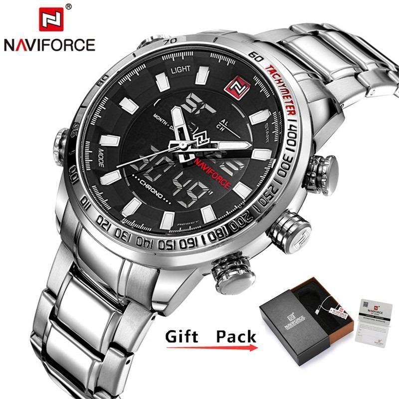 NAVIFORCE Hot Fashion Luxury Men's Watch Digital Quartz Dual Display Multi-function Military Sports Watch