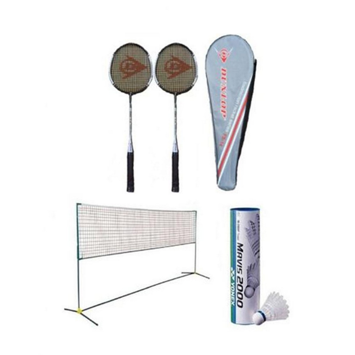 Pack of 9 - Badminton Set - Multicolour pair of racket 6 shuttle with net included